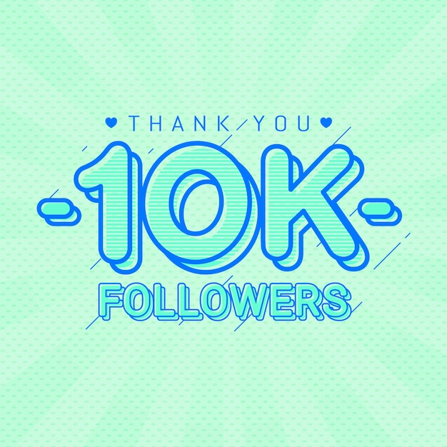 Merci 10k followers bannière de félicitations Vecteur Premium