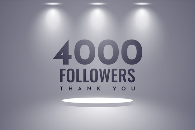 Merci 4000 Followers Design Vecteur Premium
