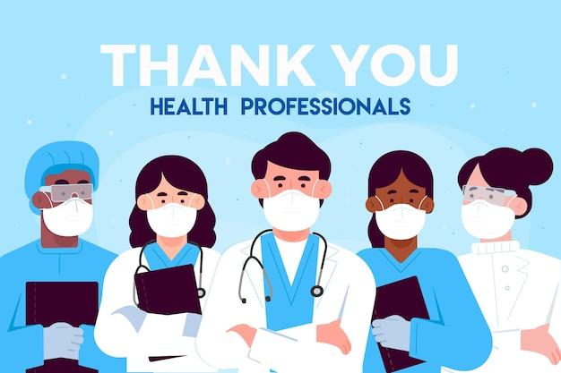 Merci Aux Médecins Et Infirmières Professionnels De La Santé Vecteur Premium
