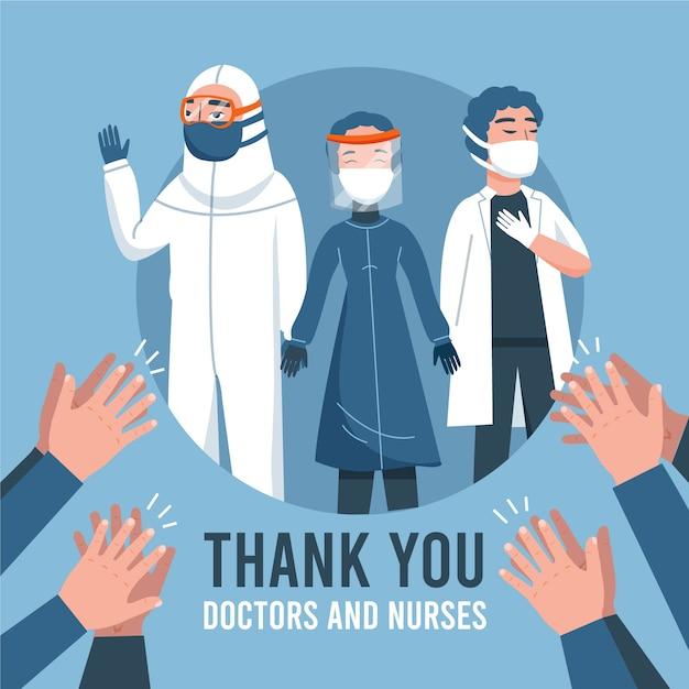 Merci Aux Professionnels De La Santé Vecteur gratuit