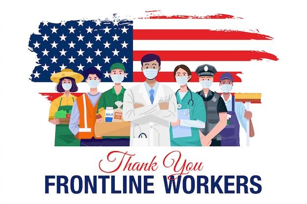 Merci Aux Travailleurs De Première Ligne. Diverses Professions Personnes Debout Avec Le Drapeau Américain. Vecteur Vecteur Premium