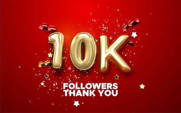 Merci Banniere De 10 000 Abonnes Merci Carte De Felicitations Abonnes Illustration Pour Les Reseaux Sociaux Un Internaute Ou Un Blogueur Celebre Vecteur Premium