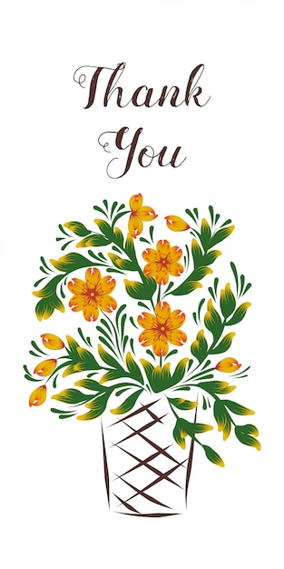 Merci Carte Avec Un Panier De Fleurs Vecteur Premium