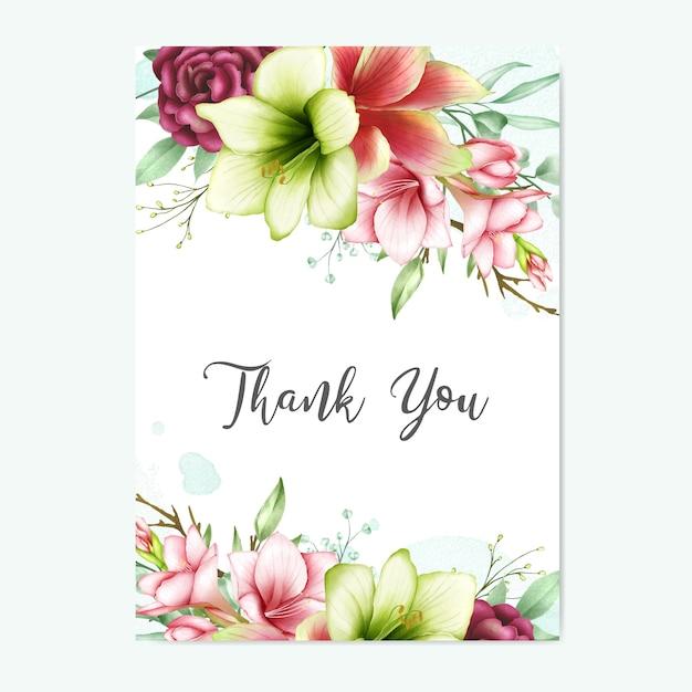 Merci carte de voeux avec amaryllis aquarelle et fleurs roses Vecteur Premium