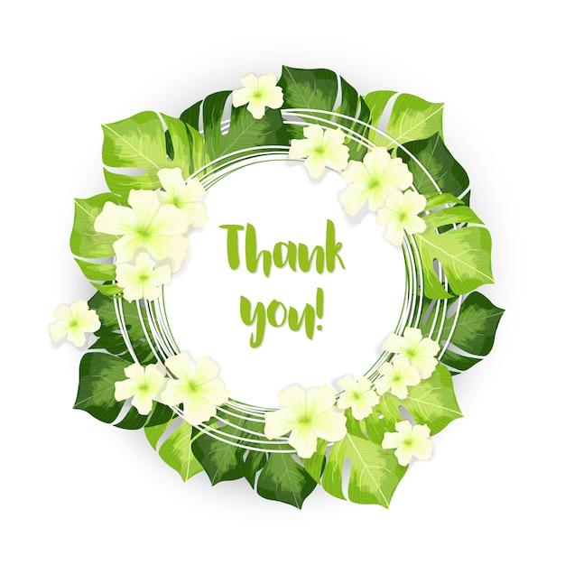 Merci Cercle Cercle De Feuilles Vertes Avec Des Fleurs Blanches Vecteur gratuit