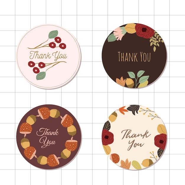 Merci cercle étiquette avec des fleurs d'automne Vecteur Premium