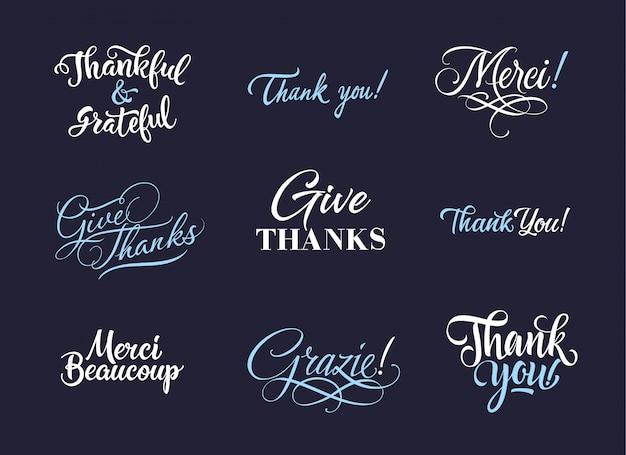 Merci la collection de logo Vecteur gratuit