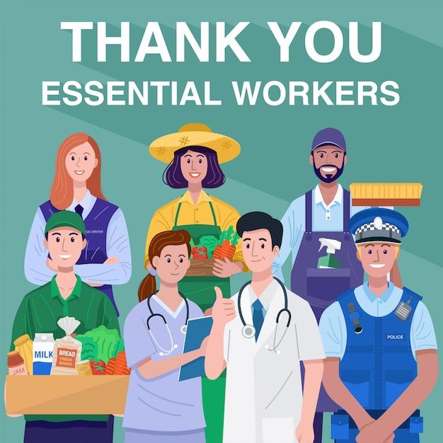 Merci Concept Des Travailleurs Essentiels. Occupations Diverses Personnes. Vecteur Vecteur Premium