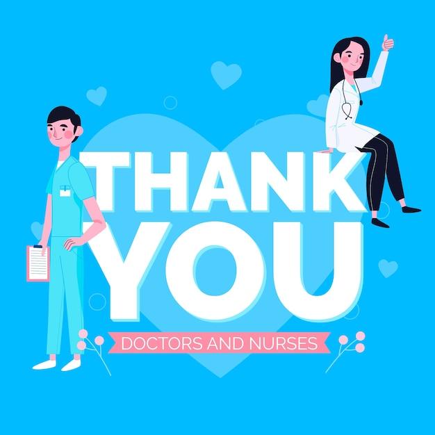 Merci Infirmières Et Concept De Médecin Vecteur gratuit