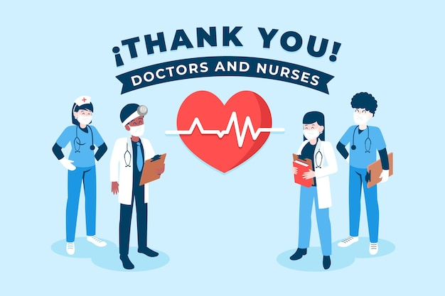 Merci Infirmières Et Médecins Vecteur gratuit