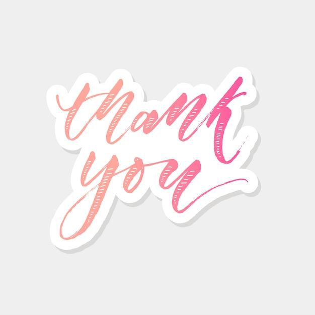 Merci lettrage calligraphie Vecteur Premium