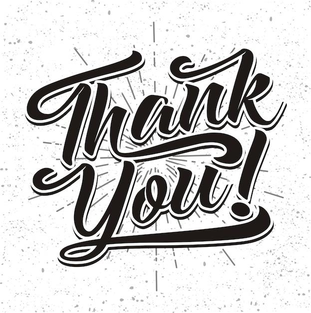 Merci à La Main Lettrage Calligraphie à La Main Vecteur Premium