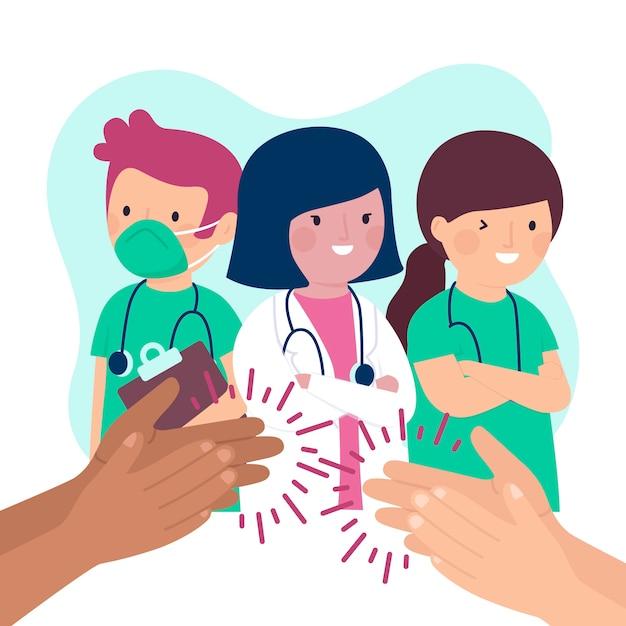 Merci Médecins Et Infirmières Vecteur gratuit