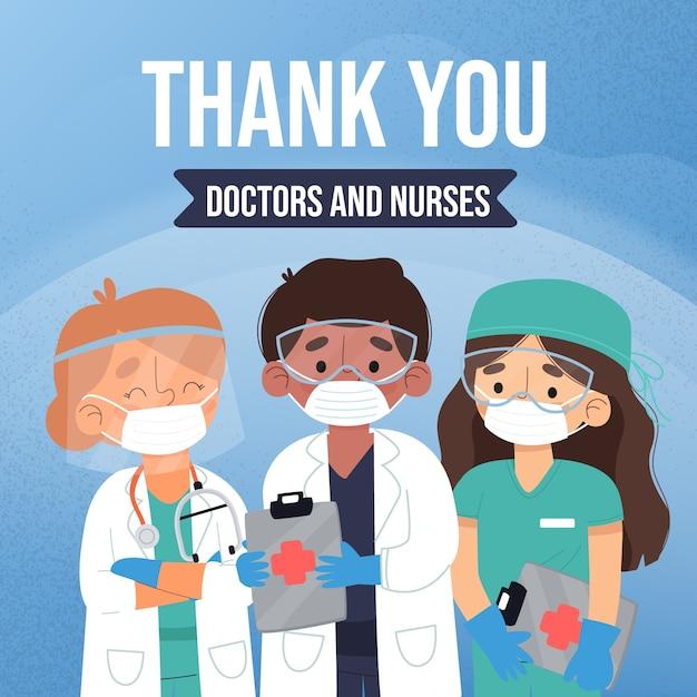 Merci Médecins Et Infirmières Vecteur Premium