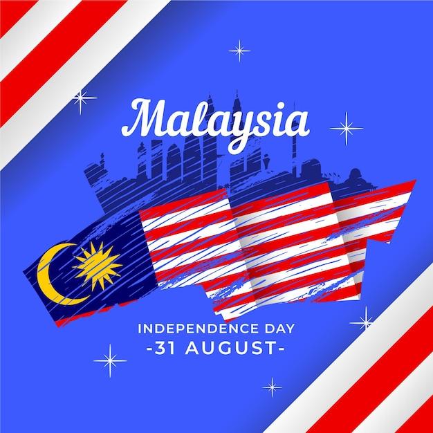 Merdeka - Fête De L'indépendance De La Malaisie Vecteur Premium
