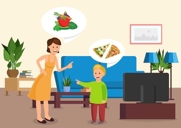 Mère de bande dessinée dit à son fils de manger des légumes. Vecteur Premium