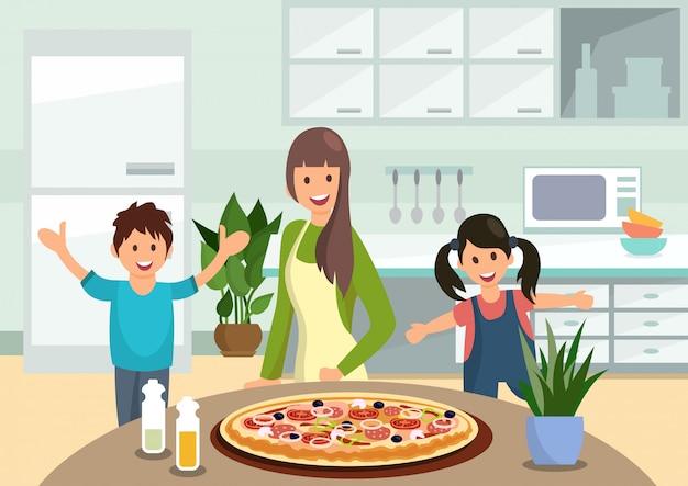 Mère de bande dessinée nourrit les enfants avec une pizza cuite Vecteur Premium