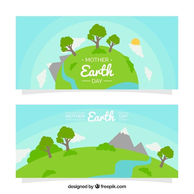 Mère bannières jour de terre avec de beaux paysages Vecteur gratuit