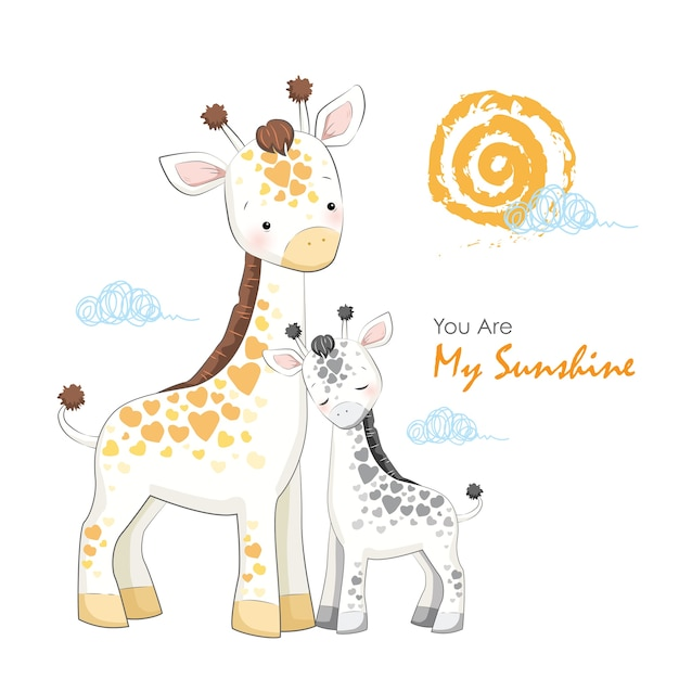 Mère et bébé girafe Vecteur Premium