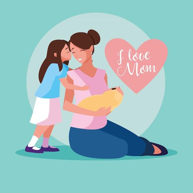 Mère avec bébé mignon et fille Vecteur Premium