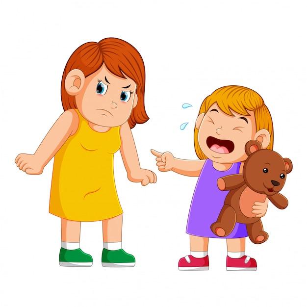 Mère en colère contre sa fille Vecteur Premium