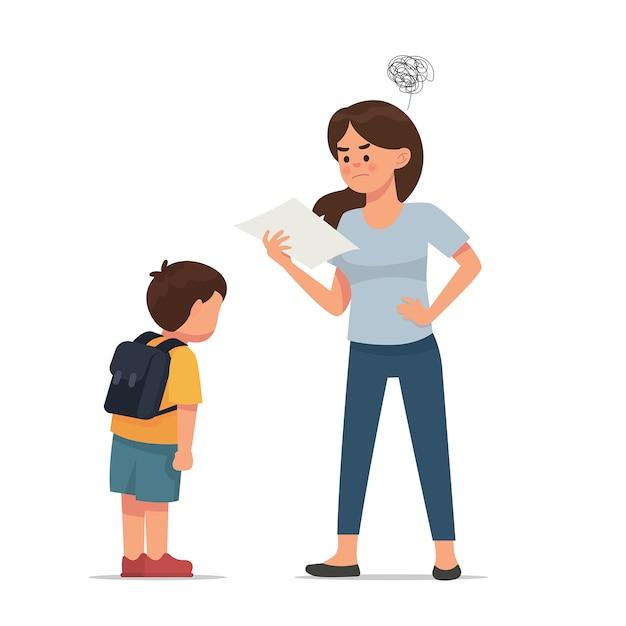 Mère en colère parce que son fils a mauvaise note Vecteur Premium
