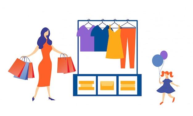 Mère élégante Et Petite Fille Faisant Du Shopping Vecteur Premium