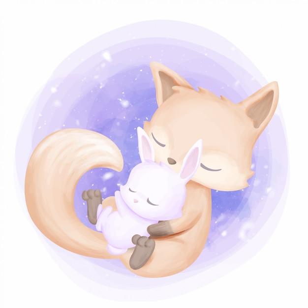 La mère embrasse bébé lapin Vecteur Premium