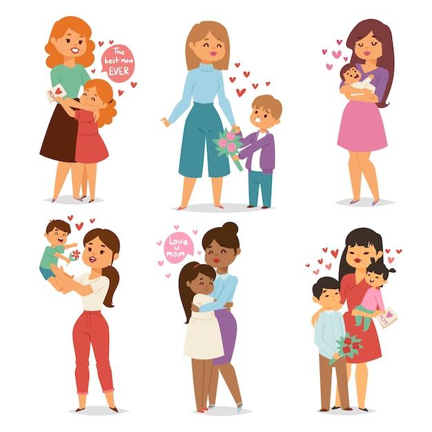 Mère et enfants avec bouquet de fleurs. vecteur de jour de mères et de femmes. Vecteur Premium