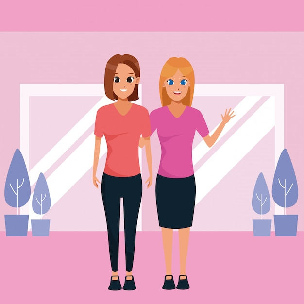 Mère et fille adulte dessin animé ensemble Vecteur gratuit