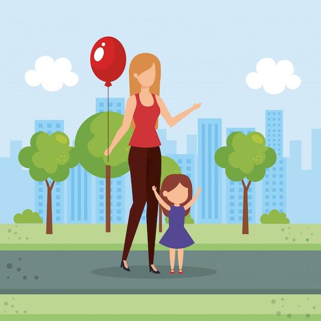 Mère et fille avec ballon Vecteur gratuit