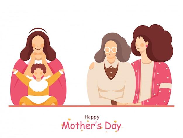 Mère Avec Fille En Deux Options Sur Blanc Pour La Célébration De La Fête Des Mères Heureuse. Vecteur Premium