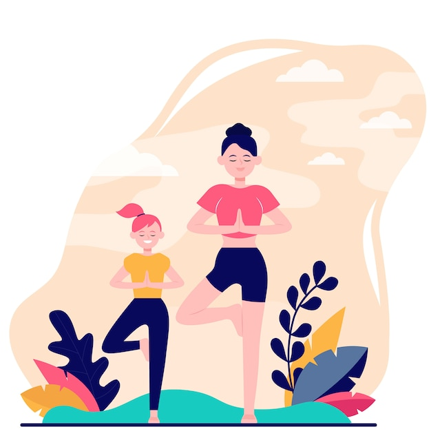 Mère Et Fille Faisant Du Fitness En Plein Air Vecteur gratuit