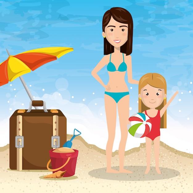 Mère avec fille sur la plage Vecteur gratuit