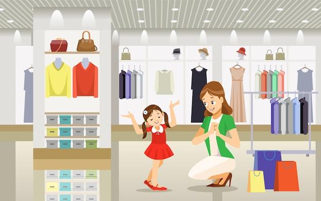 Mère et fille shopping Vecteur Premium