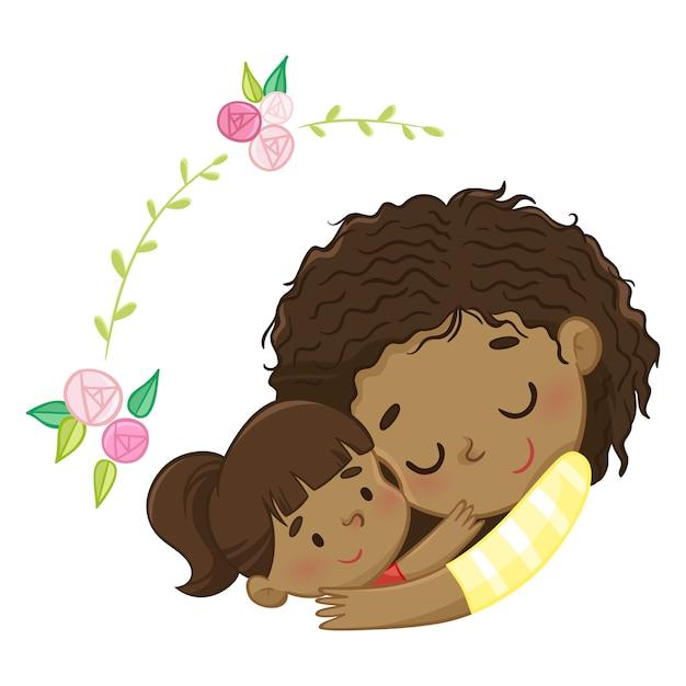 Mère et fille Vecteur Premium