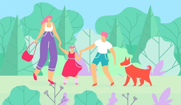 Mère, fils, fille, promener chien, dans, forêt Vecteur Premium