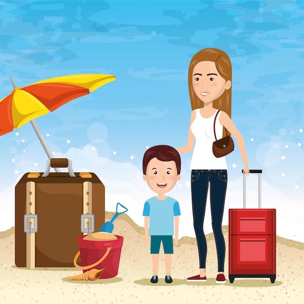 Mère avec fils sur la plage Vecteur gratuit