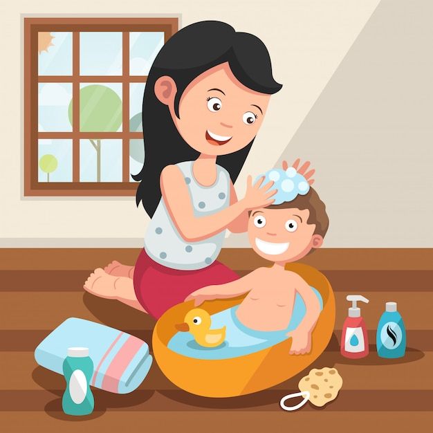 Mère lavant les cheveux de son enfant avec illustration d'amour Vecteur Premium