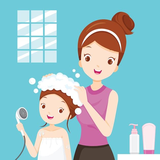 Mère Laver Les Cheveux Fille Dans La Salle De Bain Vecteur Premium