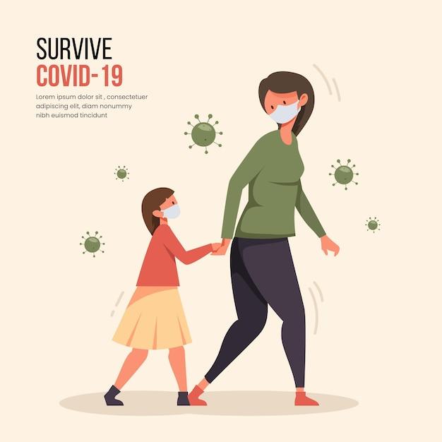 Mère, Marche, Enfants, Concept Vecteur gratuit