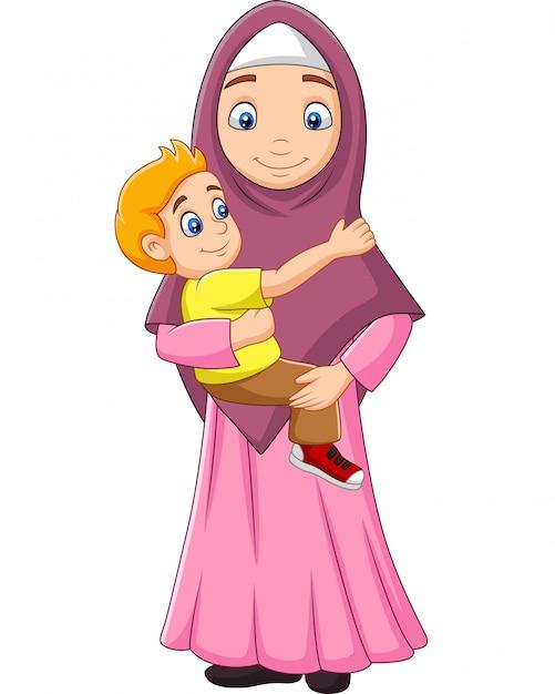 Mère musulmane embrassant son fils Vecteur Premium