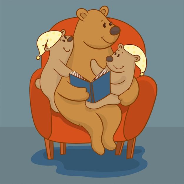 Mère ours en lisant un livre Vecteur Premium