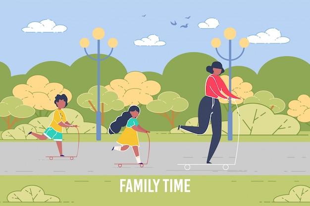 Mère Passe Le Week-end Avec Des Enfants à Cheval Dans Un Style Plat Vecteur Premium