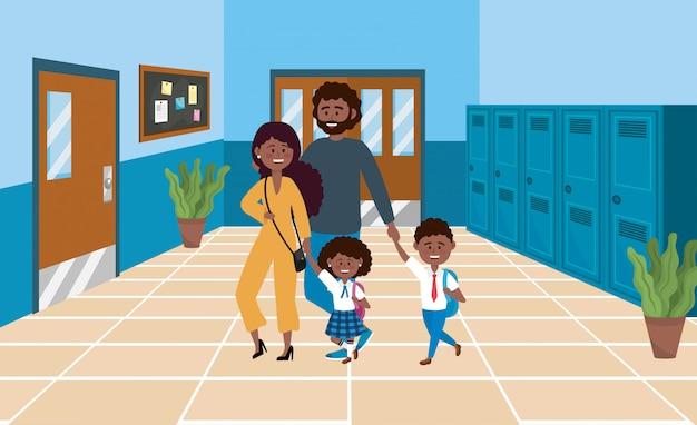 Mère et père avec leurs élèves garçons et filles Vecteur gratuit