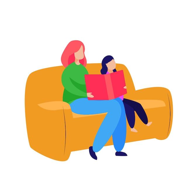 Mère et petite fille lisant un conte de fées Vecteur gratuit