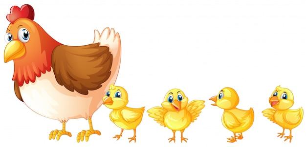 Mère poule et quatre poussins Vecteur gratuit