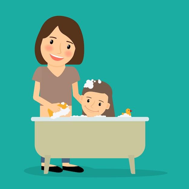 Mère se baignant bébé fille Vecteur Premium