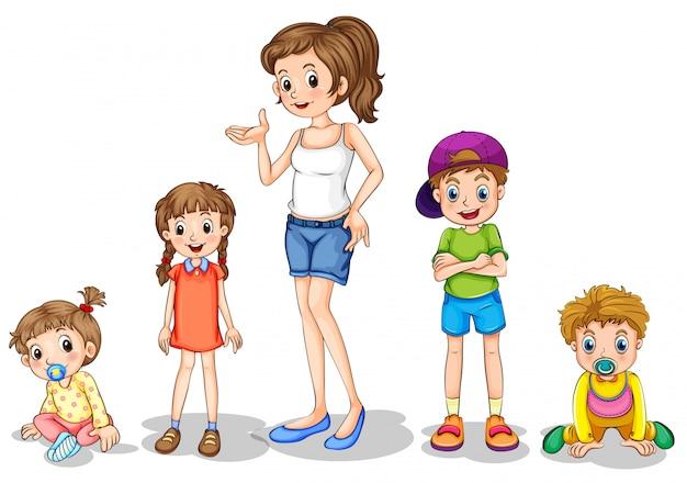 Une mère avec ses quatre enfants Vecteur gratuit