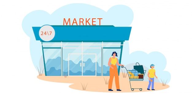 Mère Et Son Fils Quittant La Boutique Après Le Shopping, Vecteur Premium